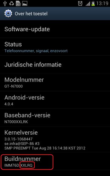 Galaxy Note Acerca del teléfono